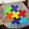 Handmade Modern Baby Cot Quilt, Patchwork Plus Design, Lap Blanket.