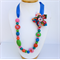 Necklace, Royal Blue Ribbon, Multi Coloured  resin beads with fabric flower