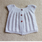 Toddler Lacy Cardi, 1 yr, Soft Grey Cotton, Hand Knit, Ladybird Buttons