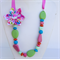 Necklace,  Pink Ribbon, Pale Green, Pink & Blue resin beads with fabric flower
