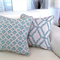 Aqua & Natural Linen Designer Contemporary Geometric Cushion 45cm