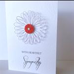 Heartfelt sympathy white flower bloom red glitter delicate beautiful card