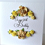 Paper roses 90th yellow & latte mocha colour any age happy birthday card