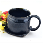 Coffee Mug and Coaster Set Ceramic Handmade Pottery Cup Black