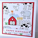 Farmyard red animal barn cow sheep chicken print handmade birthday boy girl card