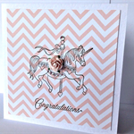 Congratulations pink celebrate chevron carousel horse with paper roses card