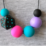 FLASH SALE. Hand painted wooden bead necklace.