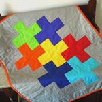 Cot Quilt, Swiss Cross, Nordic Cross, Plus design. Handmade Patchwork.