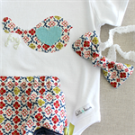 Christmas dove | baby girl onesie bloomers | knot bow headband | outfit set