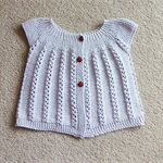 Hand Knit, 1yr old, Cotton, Toddler Lacy Cardi /Soft Grey, Ladybird