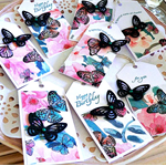 SET OF 8 gift tags lush designer butterfly paper vintage black her friend mum