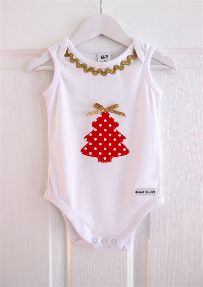 Christmas Tree Onesie.Appliqued Christmas Tree Baby Girl Onesie With Glittery Gold