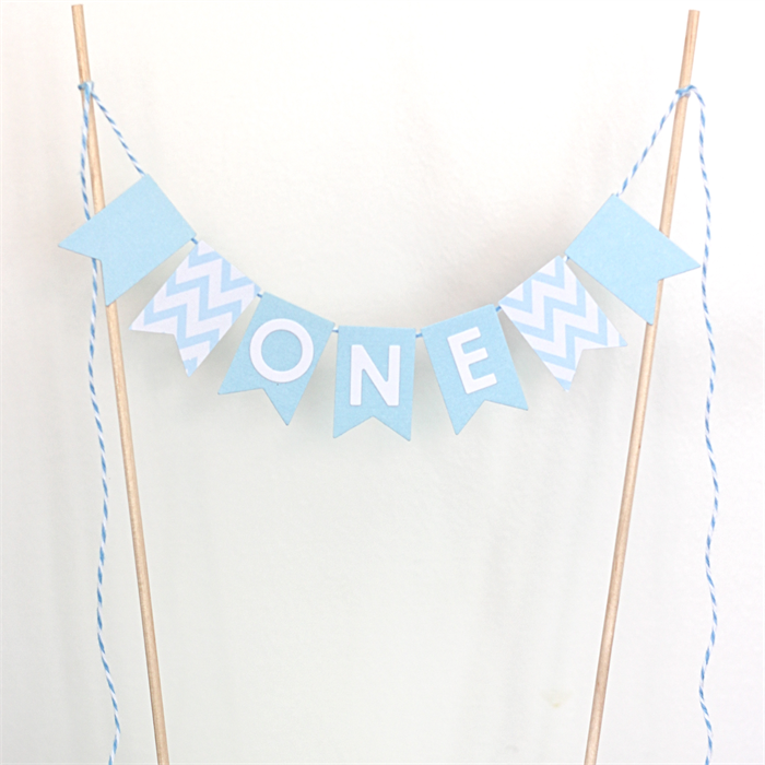 1st Birthday Cake Topper Blue and White Banner with Chevron Print