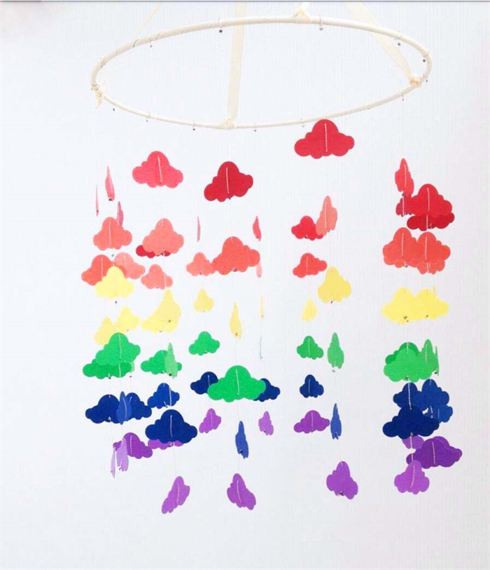 Custom baby mobile rainbow cloud design kbs designs - Designer babymobel ...