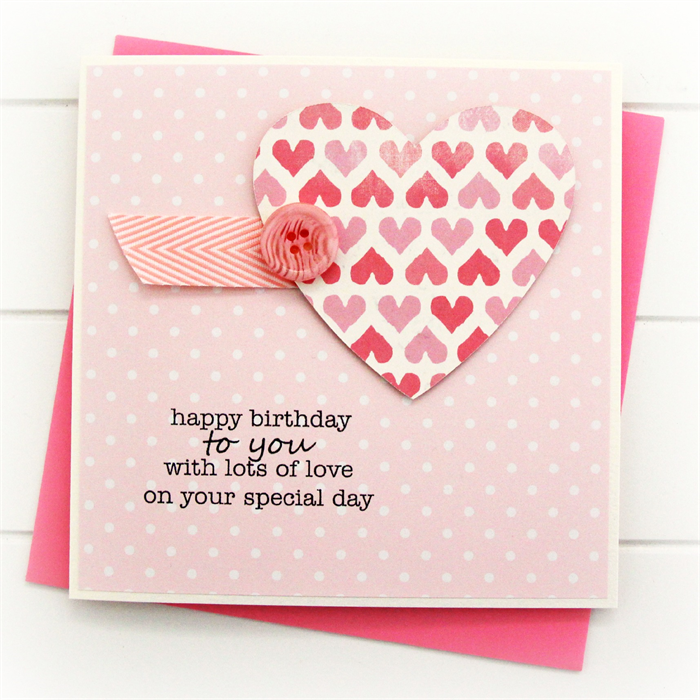 Happy birthday card for her pink paper heart polka dots teen girl happy birthday card for her pink paper heart polka dots teen girl mum sister oma bookmarktalkfo Gallery