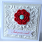 Thank you ever so much embossed red crotchet flower aqua glitter card