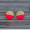 Hand painted colour dip wooden earrings. Neon pink