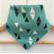 Organic Baby Bandana Bib, drool bib in Aqua Triangles