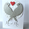 Mr & Mrs glitter silver lovebirds with red love heart  wedding card