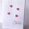 You make me smile tree embossed white with pink glitter hearts friend card