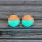 Hand painted colour dip wooden earrings. Bright Aqua