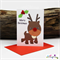 Rudolph the Red nose Reindeer Button Nose - Christmas Card - Blank Inside