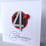 Dreams come true ANY AGE custom make ladybird ladybug silver glitter number card