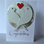 Congratulations glitter lovebirds silver red love heart engagement wedding card
