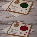 Burlap bauble Christmas card - set of 2