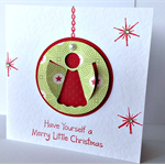 FREE POST Pack of 5 Merry little christmas pop out angel wings red green card