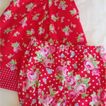 Free Post pink rose white spots on red. Dress & bloomers