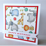 Happy birthday zoo animals elephant giraffe lion fun little boy girl fun card