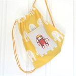Elephant Drawstring Kids Backpack in Sunflower Yellow