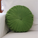 LAST ONE - Moss Green Velvet Vintage Style round cushion