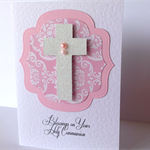 Blessings on your Holy Communion pink damask pearl glitter cross handmade card