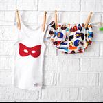 Boy Super Hero Bloomers & Singlet set - tank, red, batman, Summer, baby