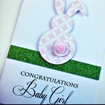 Newborn baby girl bunny  card