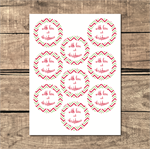 Printable Round Christmas Chevron Tag/Label/Sticker - With Love at Christmas