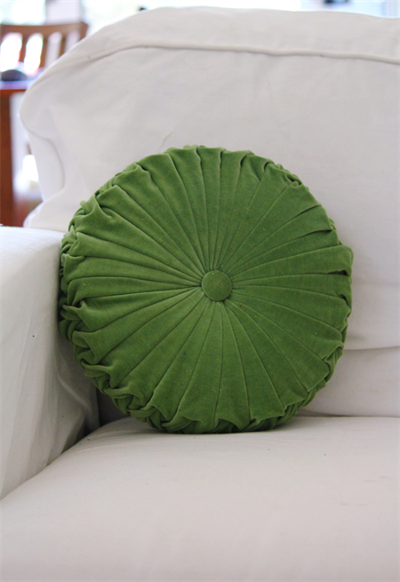LAST ONE - Moss Green Velvet Vintage Style round cushion-FREE POST