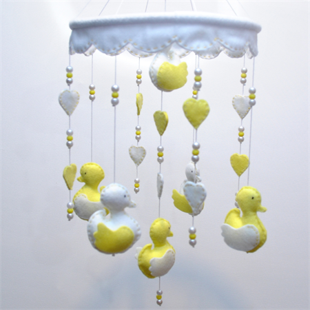 Sweet baby ducklings - soft yellow mobile