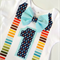 First Birthday Stars and Stripes Colourful Bow Tie Boys Onesie Bodysuit
