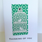 Thinking of you laser cut birdcage with green lush flock paper sympathy card