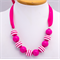 Little Girls Necklace, Pink Ribbon, with Hot Pink Bubble Gum Beads.