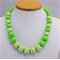 Little Girls Necklace, Lime Green Bubble Gum Beads.