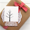 5 gift tags or mini cards birds and tree kraft doily
