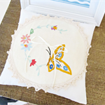 Shabby Chic Wedding Ring Pillow Ring Bearer Embroidered Flowers Butterfly