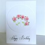 Happy birthday sweet pink paper roses celebrate her friend mum daughter card