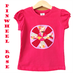 Size 3 Girls Bright Tees T-shirts, Pinwheel Rose Flower, 100% Cotton