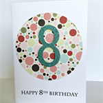 Polka dot funky 8th birthday custom any age special rainbow colour birthday card