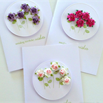 Set of 3 Happy Birthday her female friend mum paper roses pink purple card